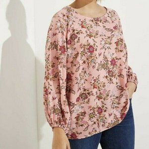 New LOFT Womans Floral Draped Sleeve Blouse Top 18